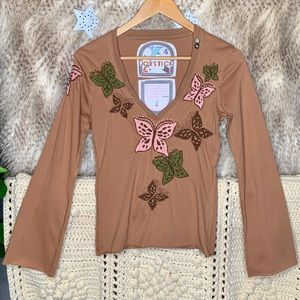 Johnny Was Joystick Tan Butterfly Stitched Top